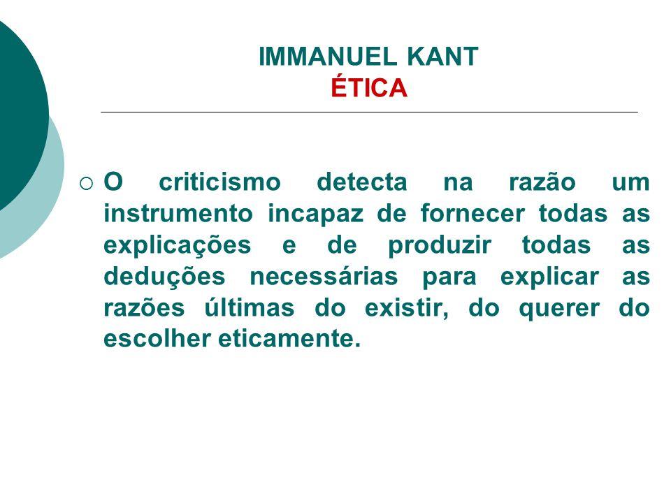 IMMANUEL KANT ÉTICA