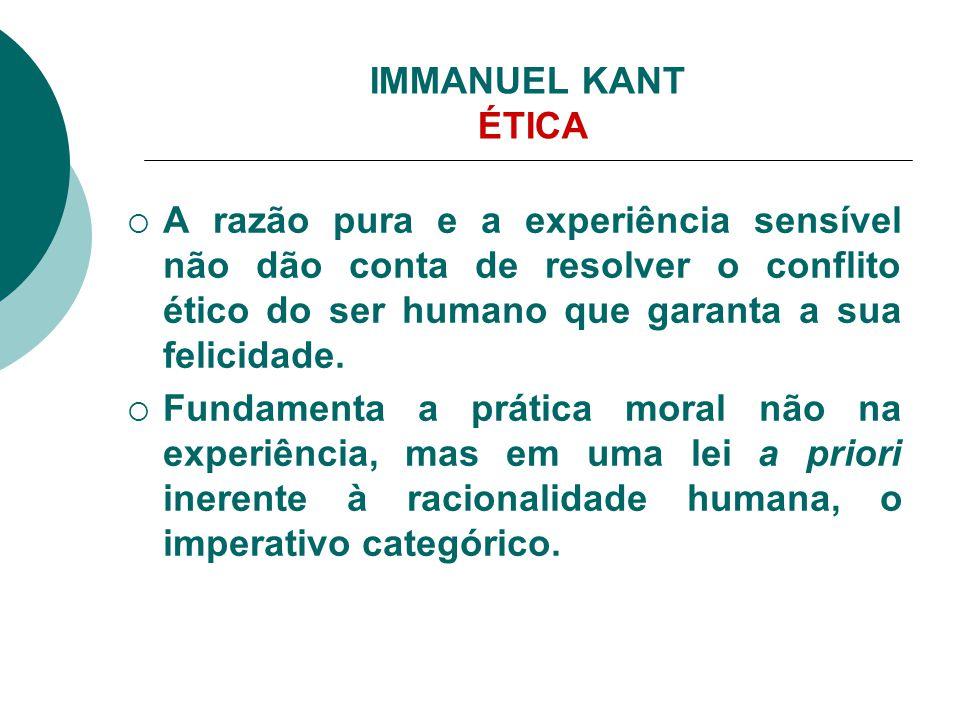 IMMANUEL KANT ÉTICA A razão pura e a experiência sensível não dão conta de resolver o conflito ético do ser humano que garanta a sua felicidade.