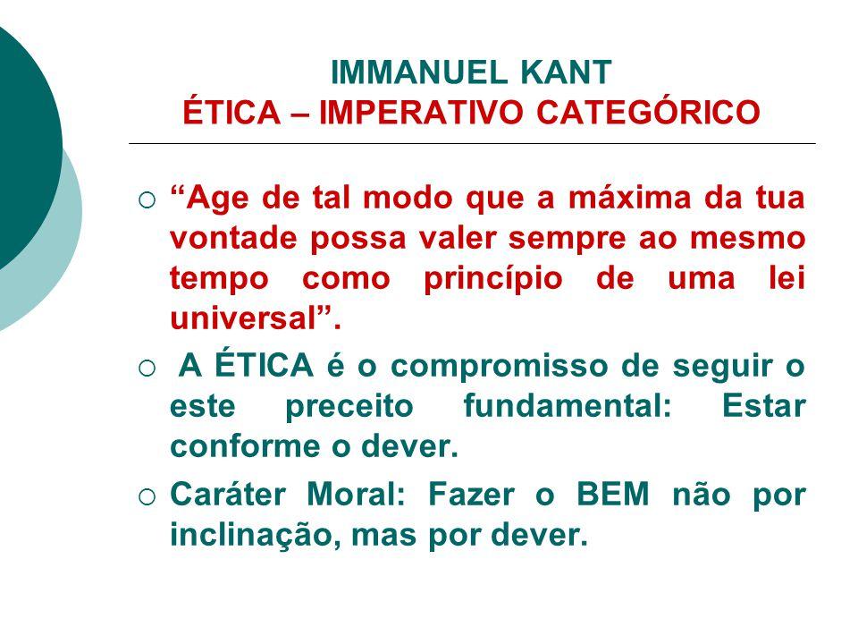 IMMANUEL KANT ÉTICA – IMPERATIVO CATEGÓRICO