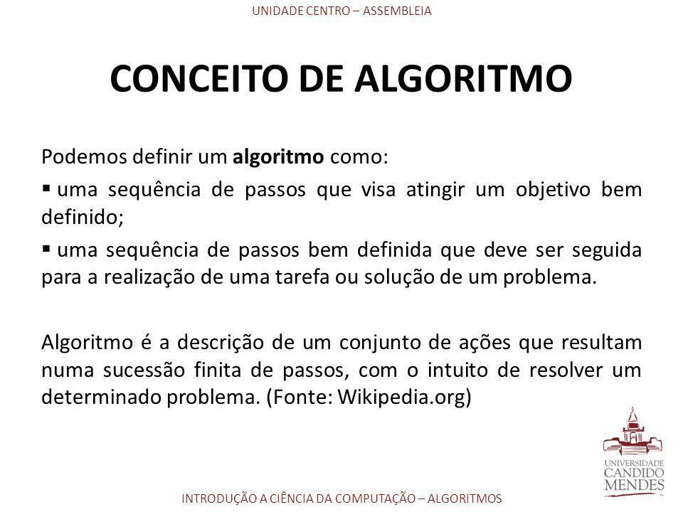 CONCEITO DE ALGORITMO Podemos definir um algoritmo como: