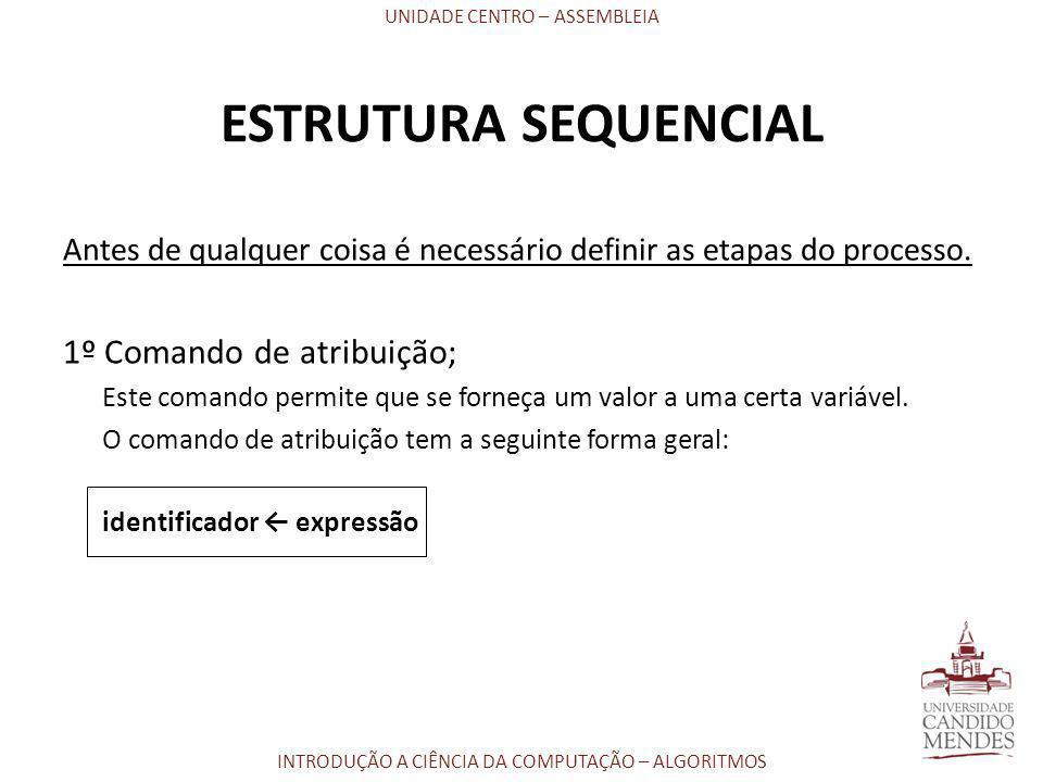ESTRUTURA SEQUENCIAL 1º Comando de atribuição;
