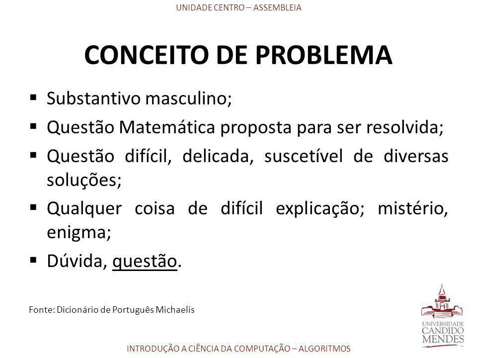 CONCEITO DE PROBLEMA Substantivo masculino;