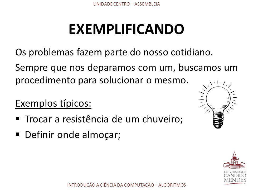 EXEMPLIFICANDO Exemplos típicos: Trocar a resistência de um chuveiro;