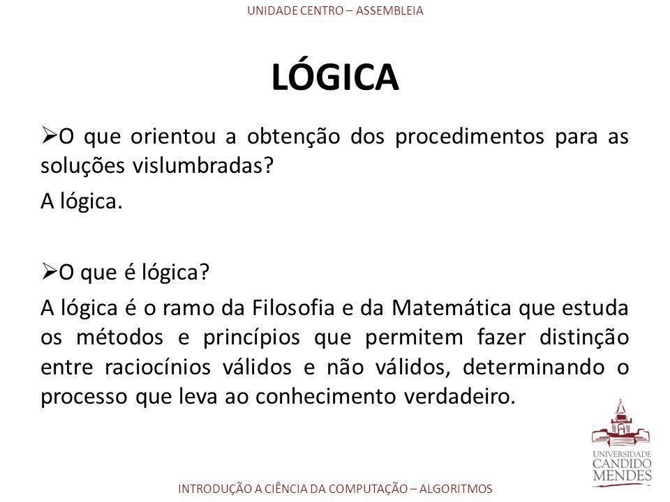 LÓGICA O que orientou a obtenção dos procedimentos para as soluções vislumbradas A lógica. O que é lógica