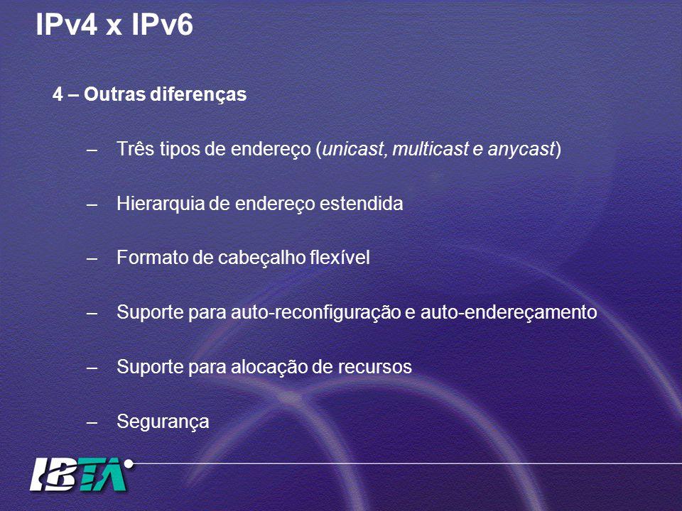 IPv4 x IPv6 4 – Outras diferenças