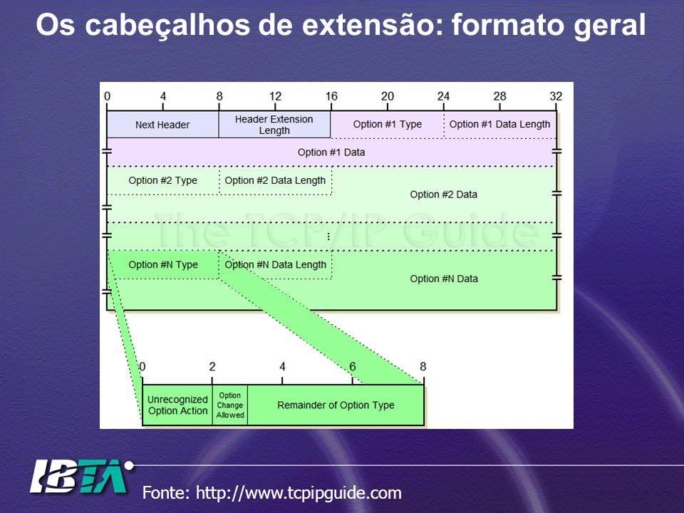 Os cabeçalhos de extensão: formato geral