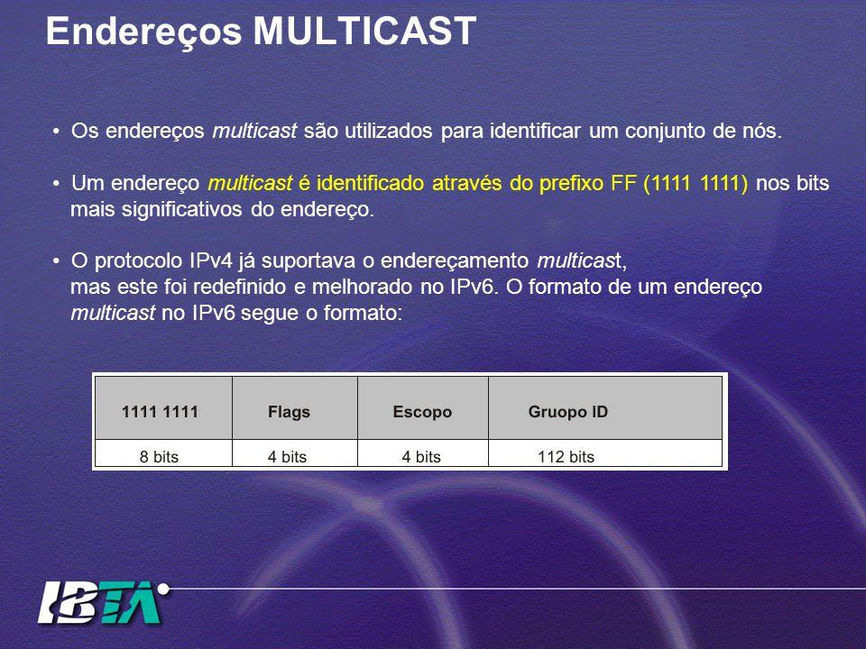 Endereços MULTICAST Os endereços multicast são utilizados para identificar um conjunto de nós.