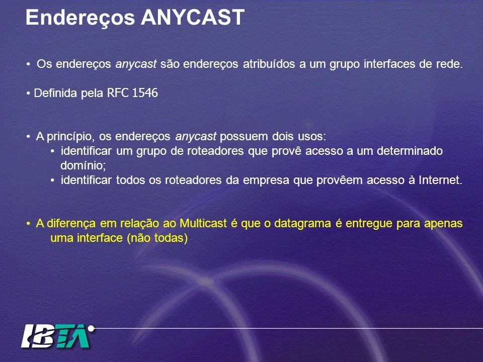 Endereços ANYCAST Os endereços anycast são endereços atribuídos a um grupo interfaces de rede. Definida pela RFC 1546.