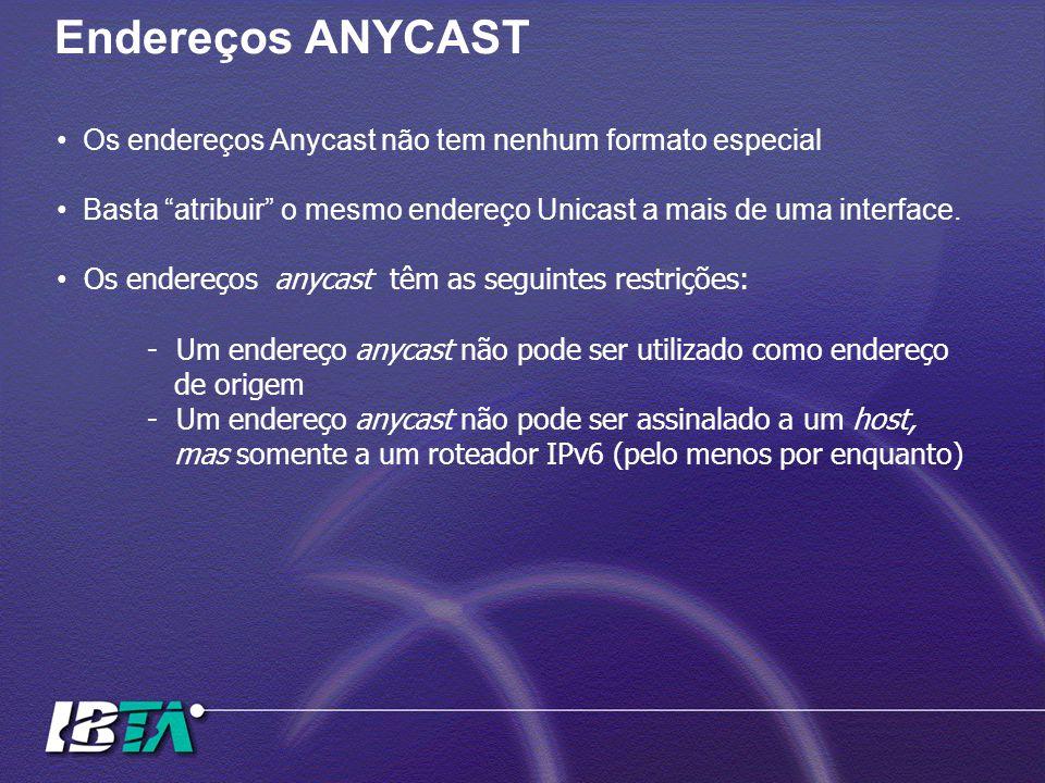 Endereços ANYCAST Os endereços Anycast não tem nenhum formato especial