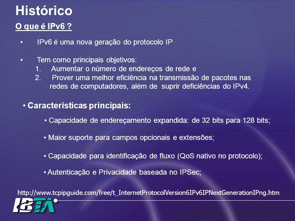 Histórico O que é IPv6 Características principais: