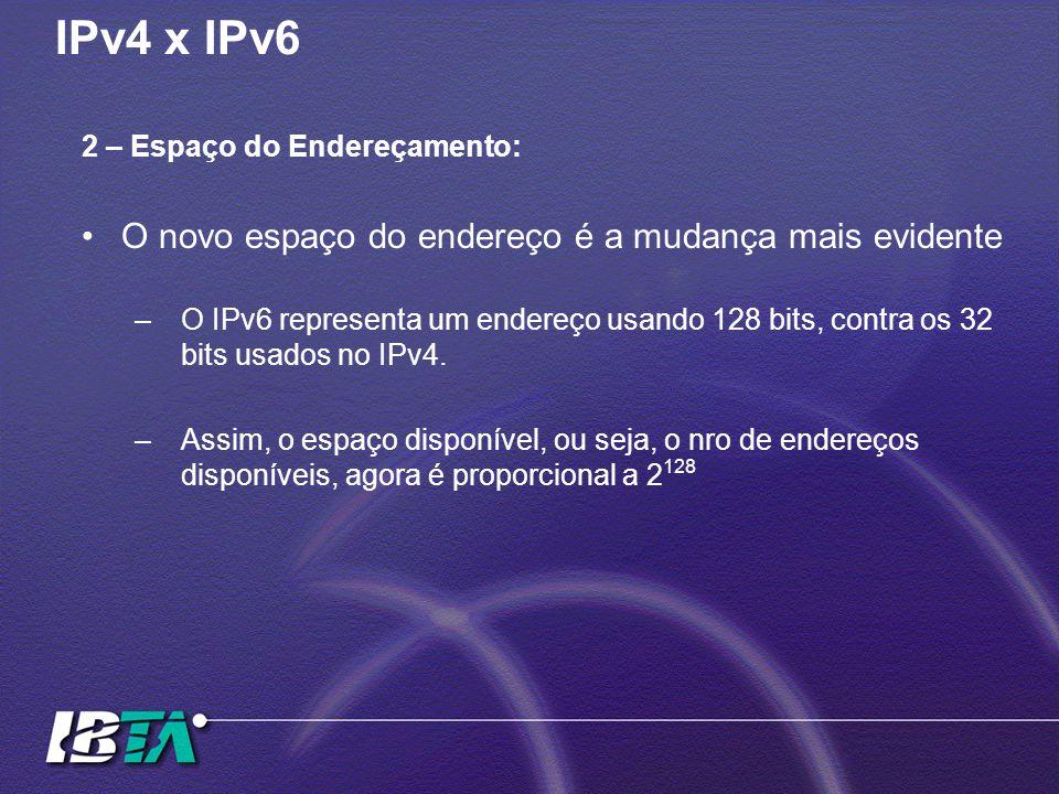 IPv4 x IPv6 O novo espaço do endereço é a mudança mais evidente