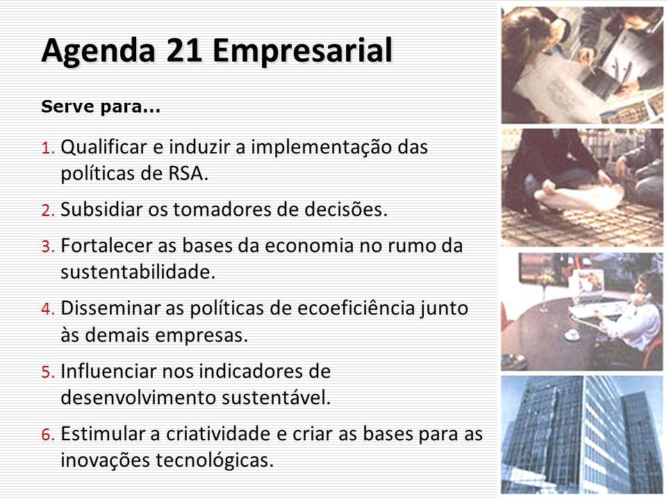 Agenda 21 Empresarial Serve para... Qualificar e induzir a implementação das políticas de RSA. Subsidiar os tomadores de decisões.