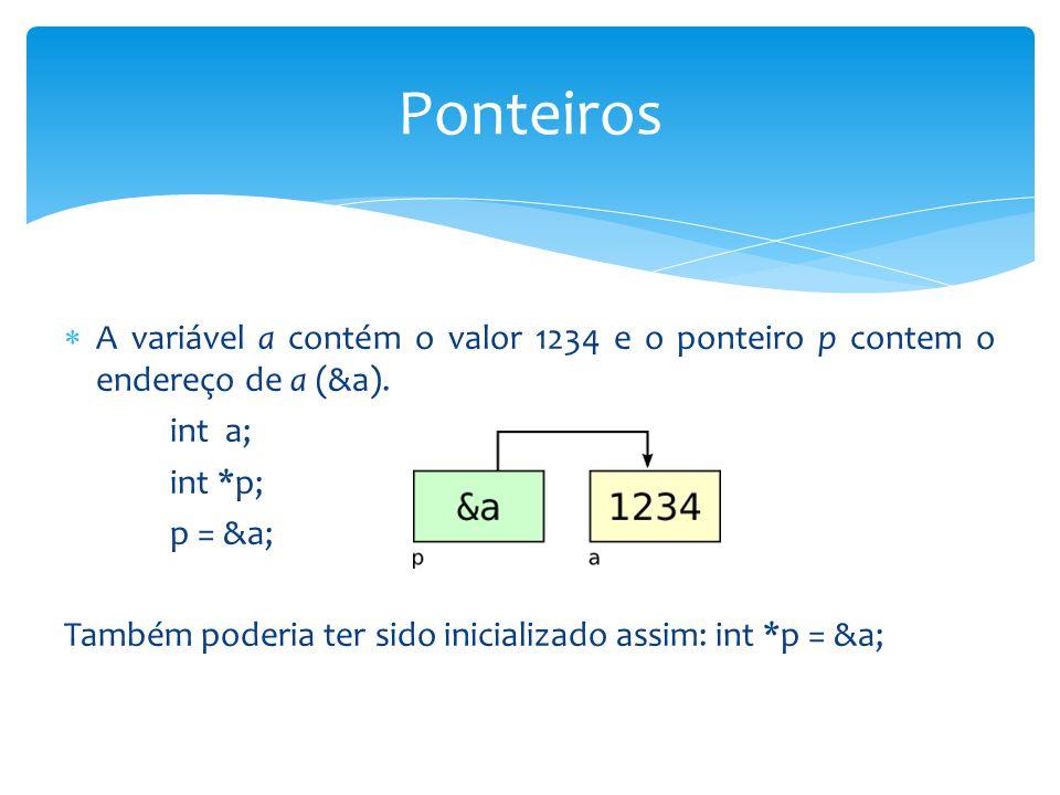 Ponteiros A variável a contém o valor 1234 e o ponteiro p contem o endereço de a (&a). int a; int *p;