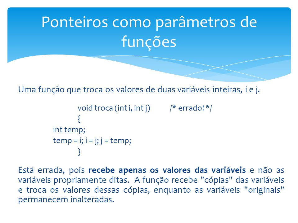 Ponteiros como parâmetros de funções