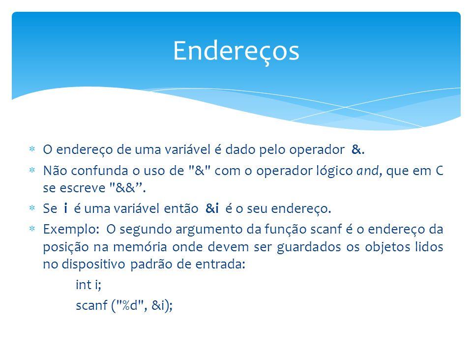 Endereços O endereço de uma variável é dado pelo operador &.