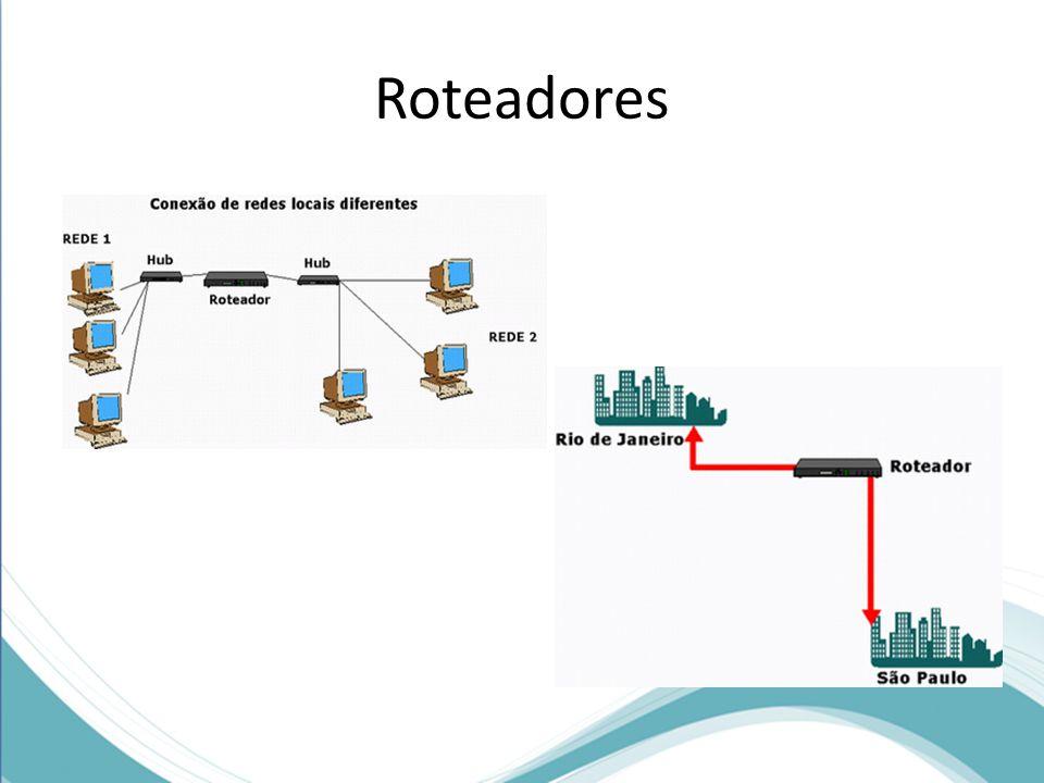 Roteadores Outras funções desempenhadas por este equipamento são: conectar redes locais diferentes e conectar redes de longo alcance (WAN).