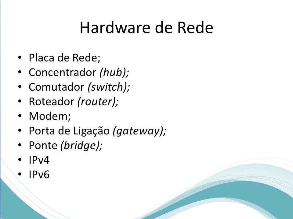 Hardware de Rede Placa de Rede; Concentrador (hub);