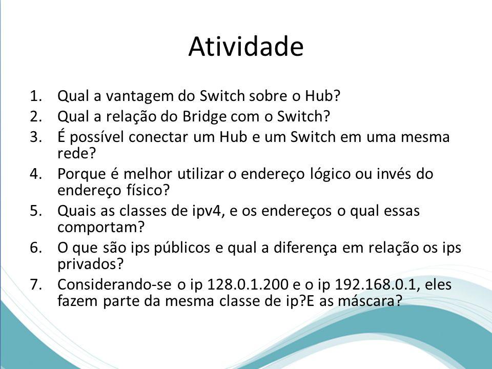Atividade Qual a vantagem do Switch sobre o Hub