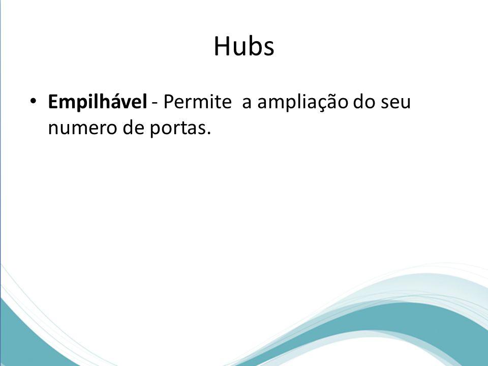 Hubs Empilhável - Permite a ampliação do seu numero de portas.