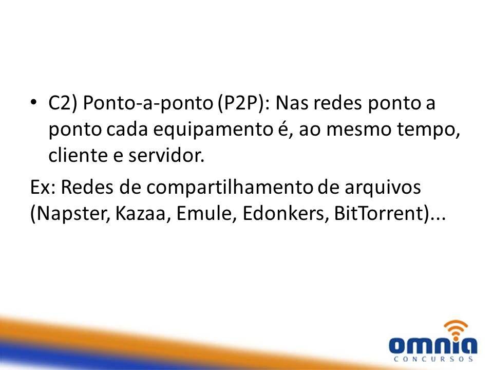 C2) Ponto-a-ponto (P2P): Nas redes ponto a ponto cada equipamento é, ao mesmo tempo, cliente e servidor.