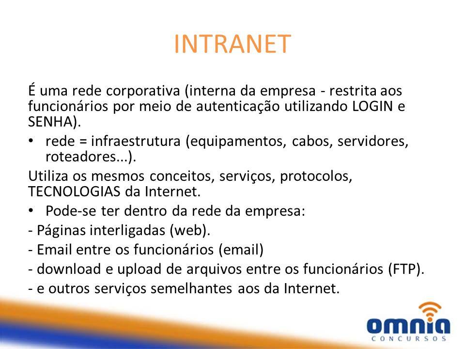INTRANET É uma rede corporativa (interna da empresa - restrita aos funcionários por meio de autenticação utilizando LOGIN e SENHA).