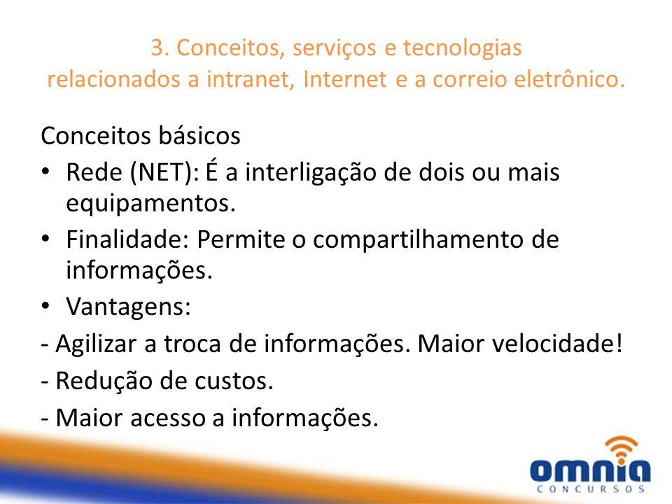 Rede (NET): É a interligação de dois ou mais equipamentos.