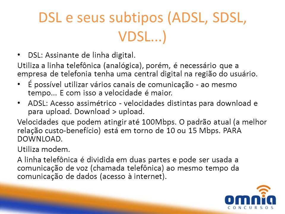DSL e seus subtipos (ADSL, SDSL, VDSL...)