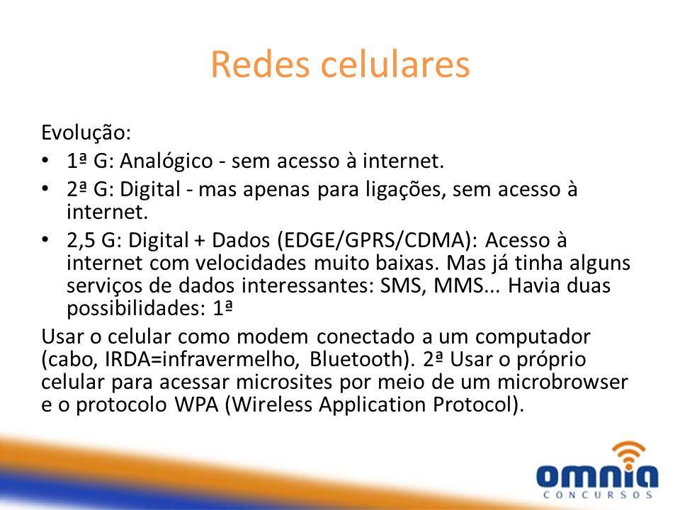 Redes celulares Evolução: 1ª G: Analógico - sem acesso à internet.