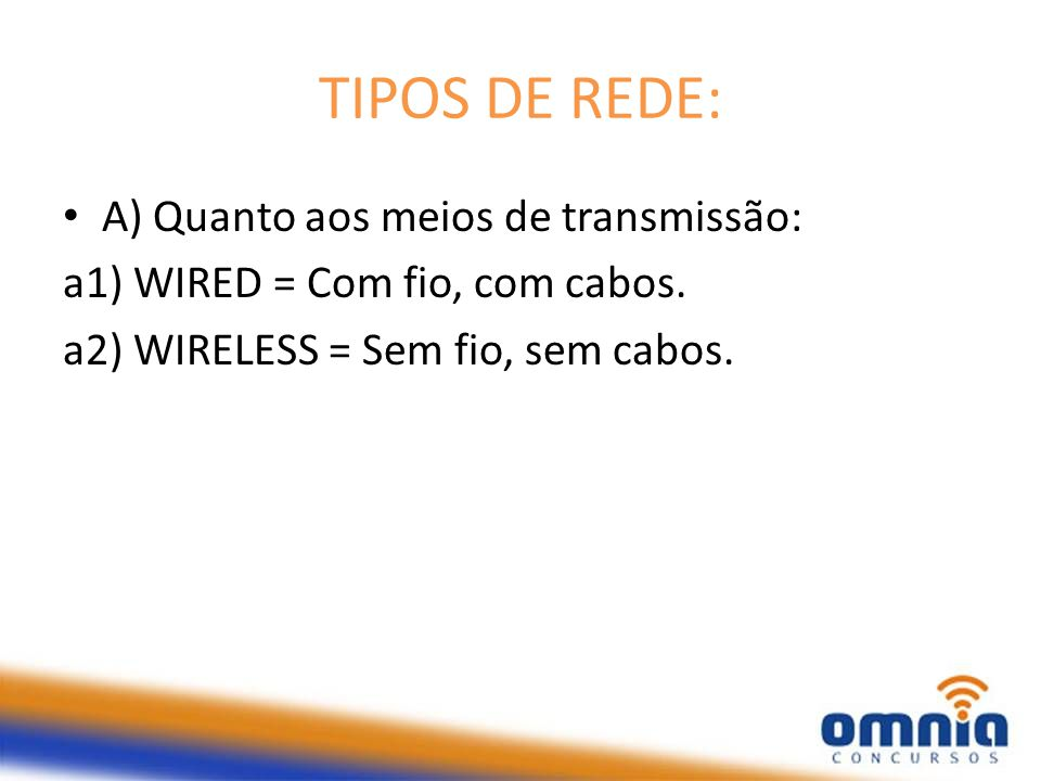 TIPOS DE REDE: A) Quanto aos meios de transmissão: