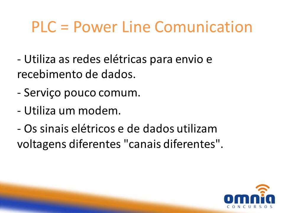 PLC = Power Line Comunication