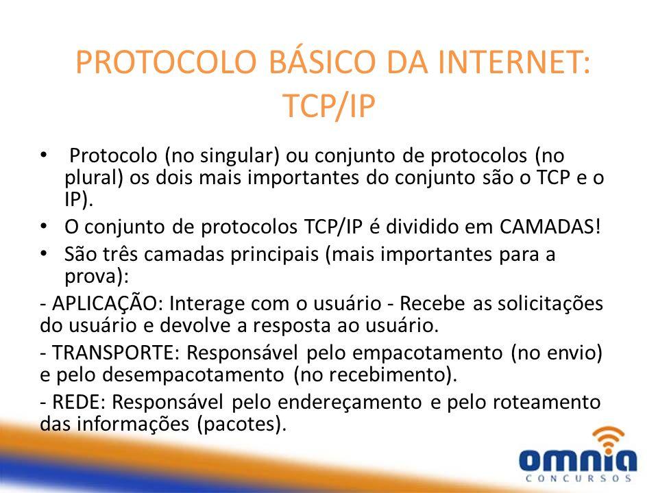 PROTOCOLO BÁSICO DA INTERNET: TCP/IP