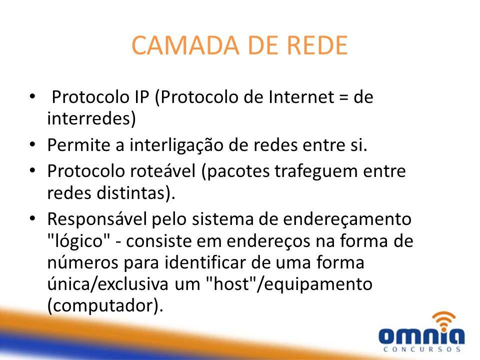 CAMADA DE REDE Protocolo IP (Protocolo de Internet = de interredes)
