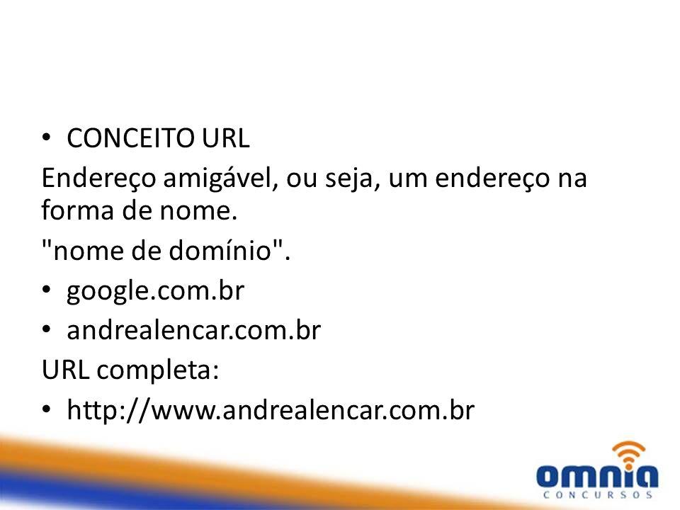 CONCEITO URL Endereço amigável, ou seja, um endereço na forma de nome. nome de domínio . google.com.br.