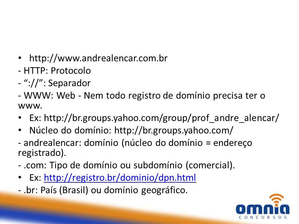 http://www.andrealencar.com.br - HTTP: Protocolo. - :// : Separador. - WWW: Web - Nem todo registro de domínio precisa ter o www.