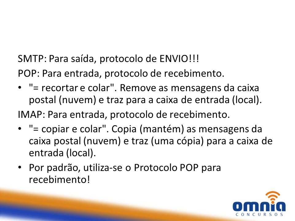 SMTP: Para saída, protocolo de ENVIO!!!