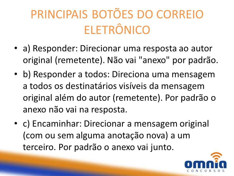 PRINCIPAIS BOTÕES DO CORREIO ELETRÔNICO