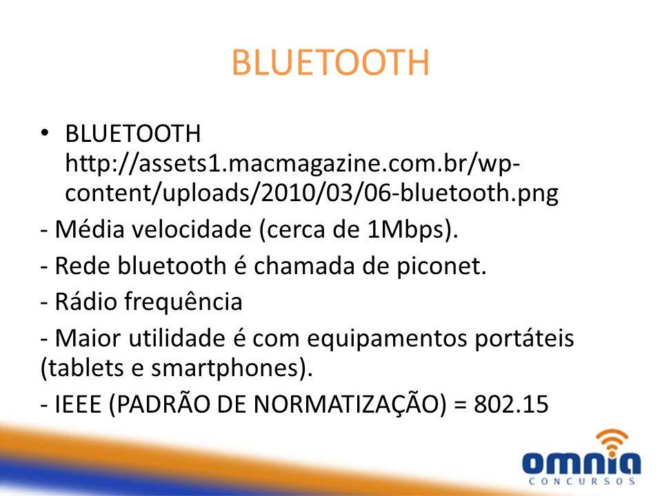 BLUETOOTH BLUETOOTH http://assets1.macmagazine.com.br/wp-content/uploads/2010/03/06-bluetooth.png. - Média velocidade (cerca de 1Mbps).