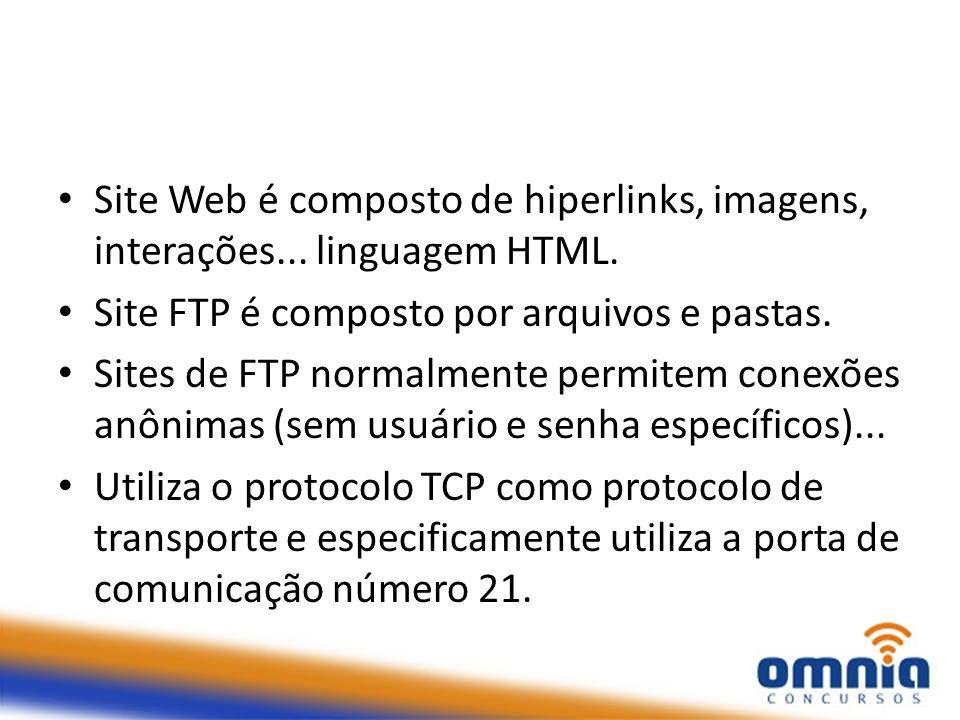 Site Web é composto de hiperlinks, imagens, interações... linguagem HTML.