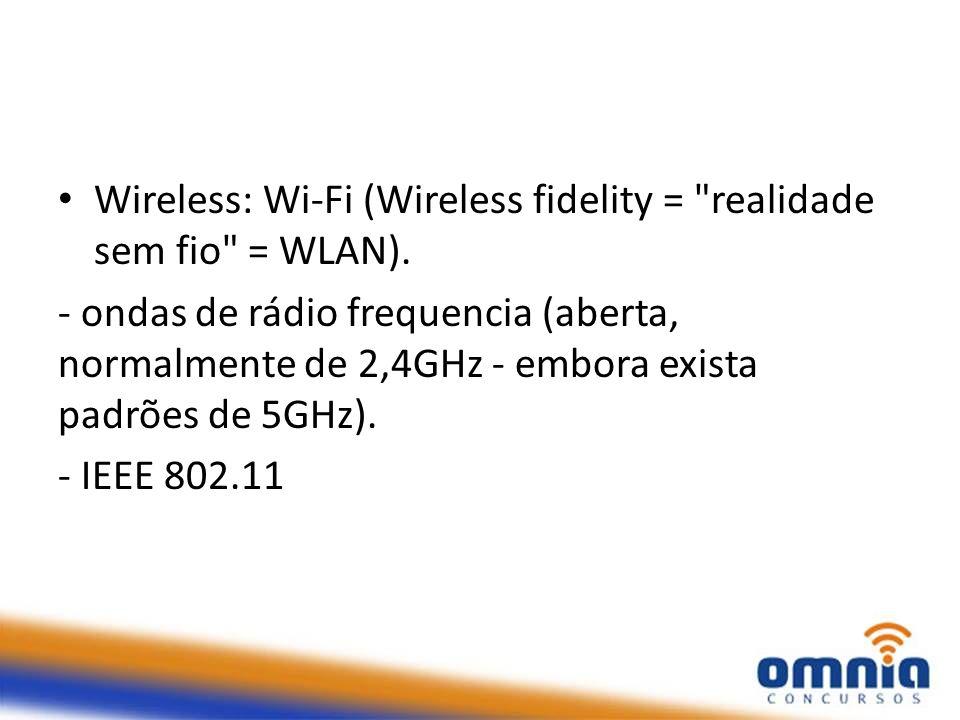 Wireless: Wi-Fi (Wireless fidelity = realidade sem fio = WLAN).