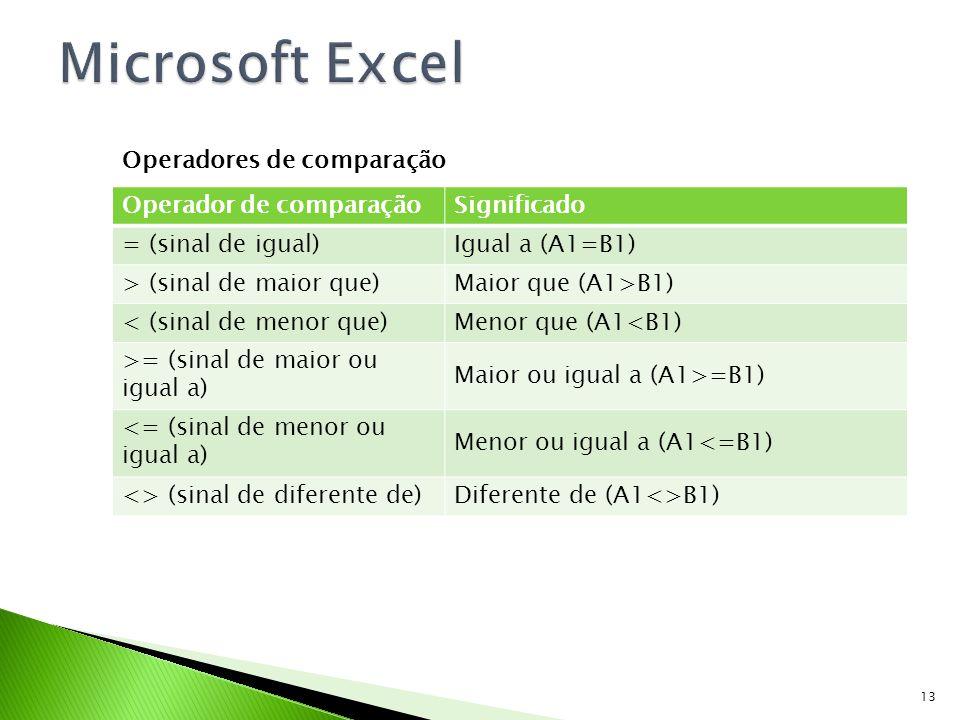 Microsoft Excel Operadores de comparação Operador de comparação