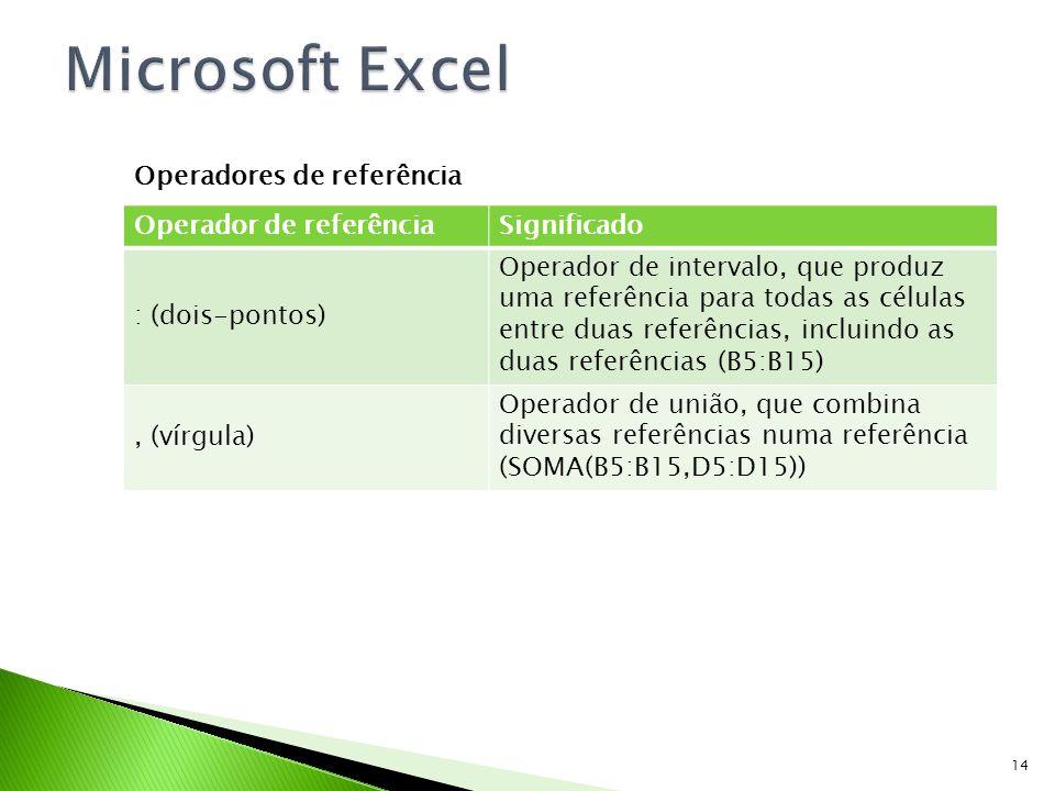 Microsoft Excel Operadores de referência Operador de referência