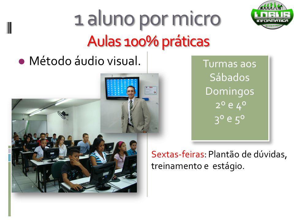 1 aluno por micro Aulas 100% práticas