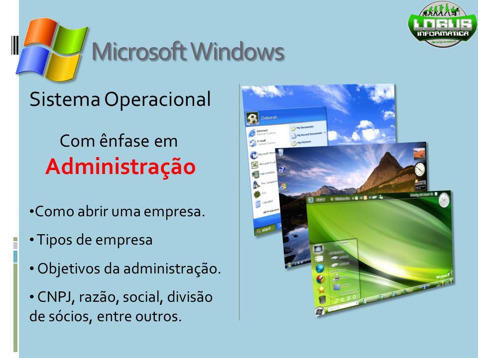 Microsoft Windows Administração Sistema Operacional Com ênfase em