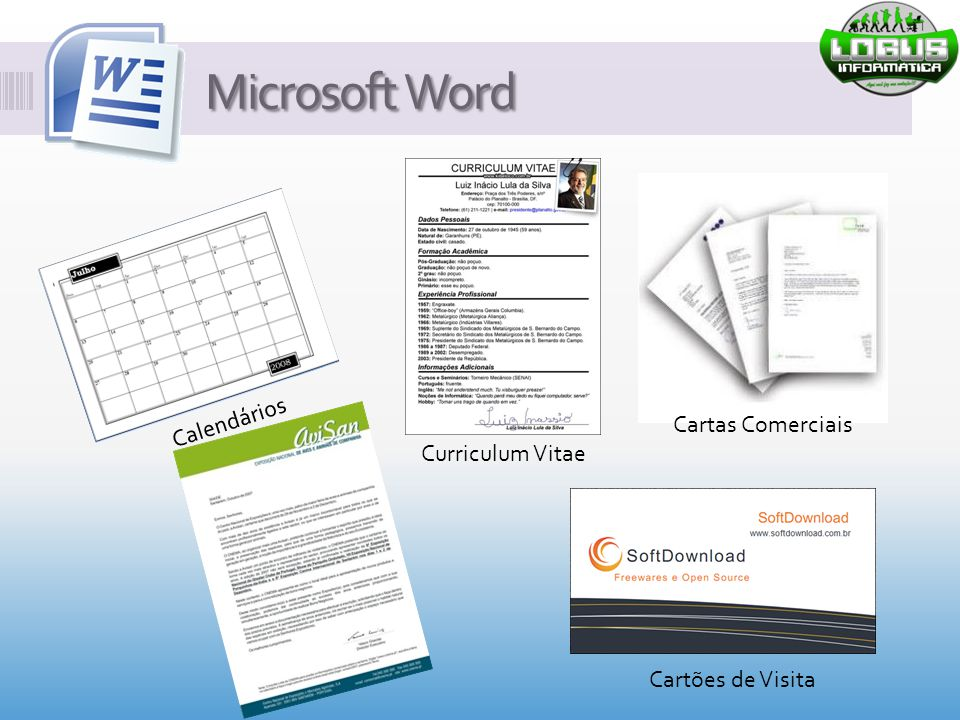 Microsoft Word Calendários Cartas Comerciais Curriculum Vitae