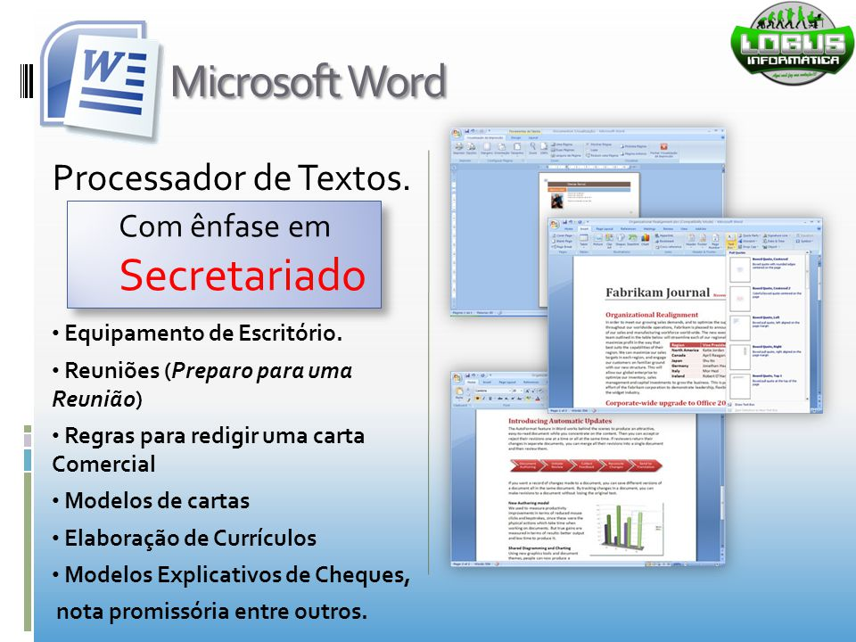 Microsoft Word Secretariado Processador de Textos. Com ênfase em