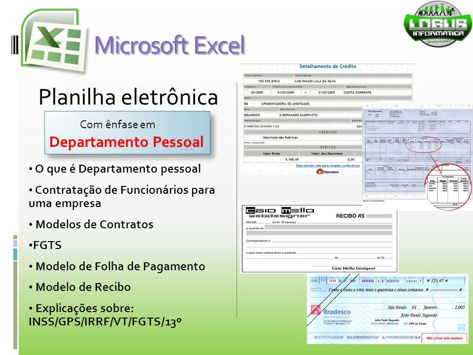 Microsoft Excel Planilha eletrônica Departamento Pessoal