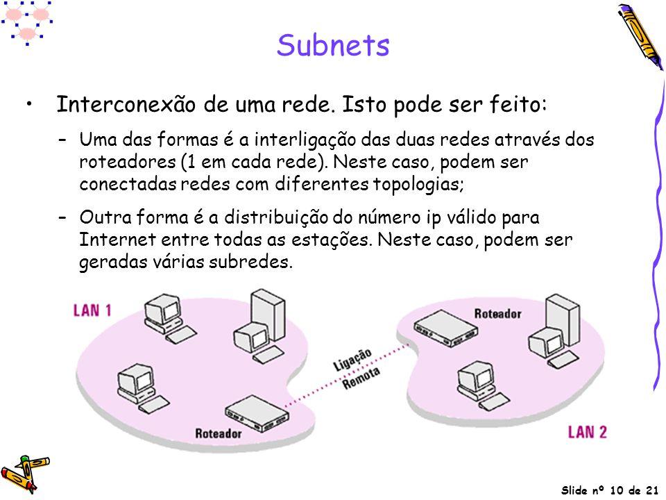 Subnets Interconexão de uma rede. Isto pode ser feito:
