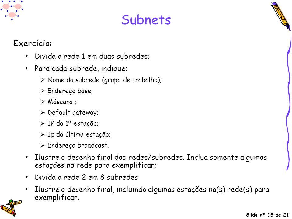 Subnets Exercício: Divida a rede 1 em duas subredes;