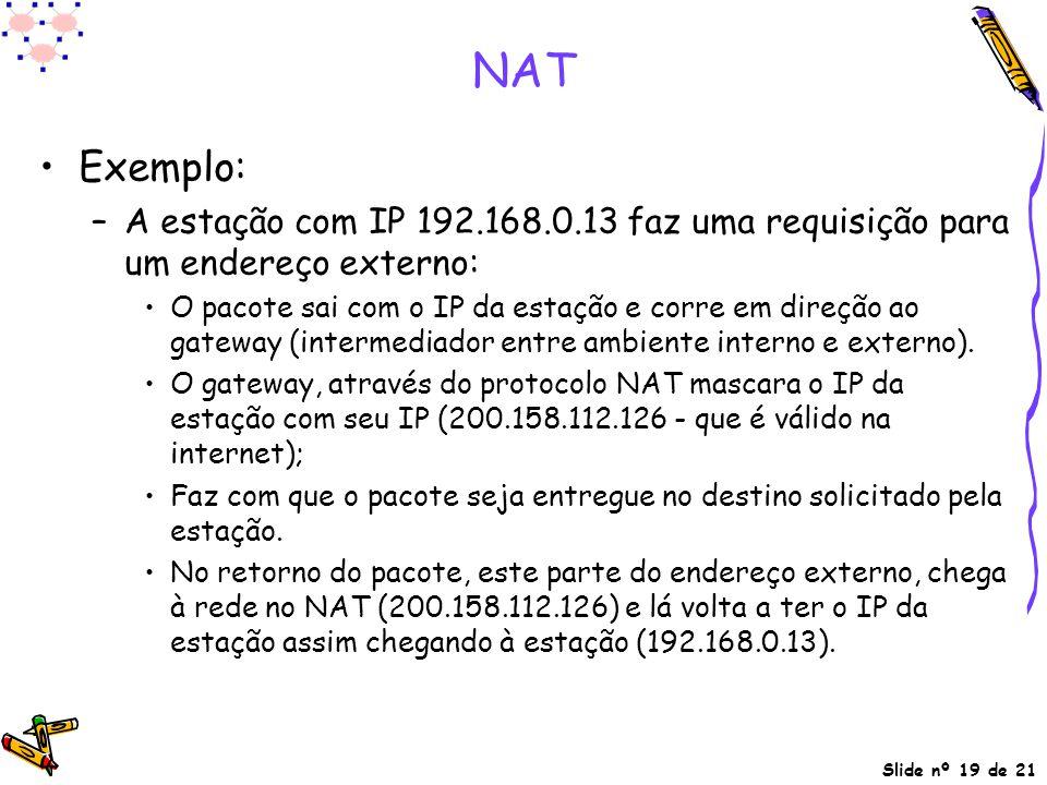 NAT Exemplo: A estação com IP 192.168.0.13 faz uma requisição para um endereço externo: