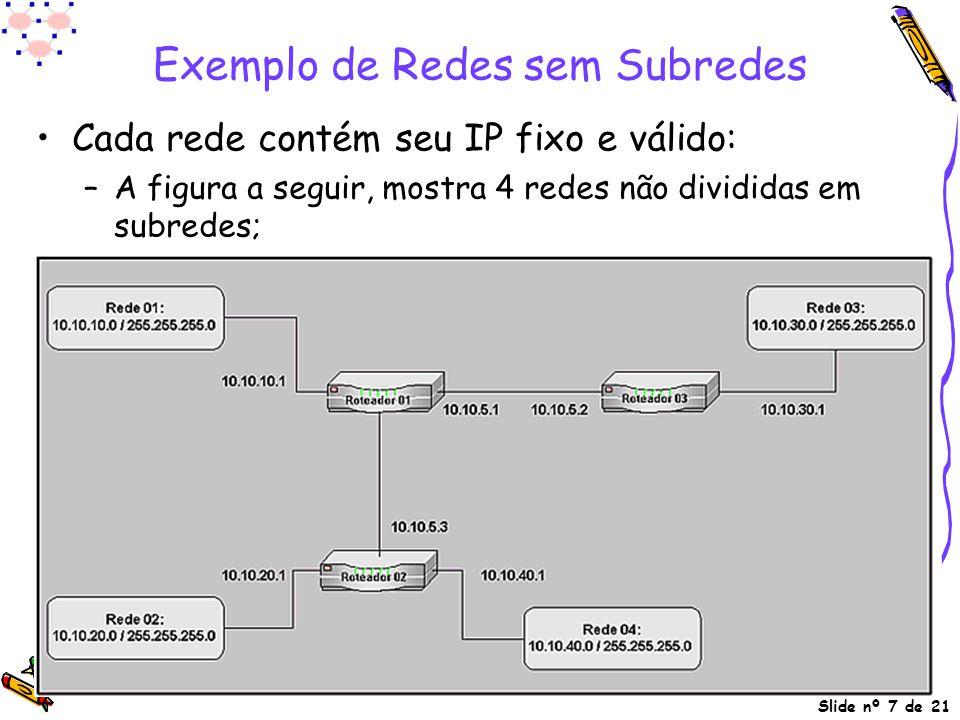 Exemplo de Redes sem Subredes